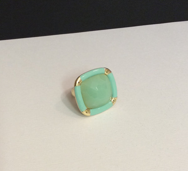 Square Color-block Pendant Ring
