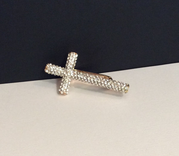 Rhinestone Cross Two-Finger Ring