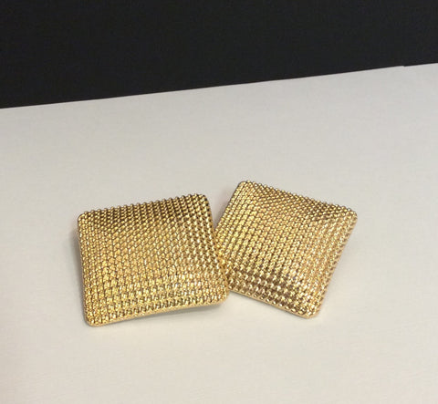 Large Gold Textured Square Post Earrings