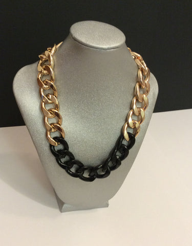 Black & Gold Chain Link Necklace
