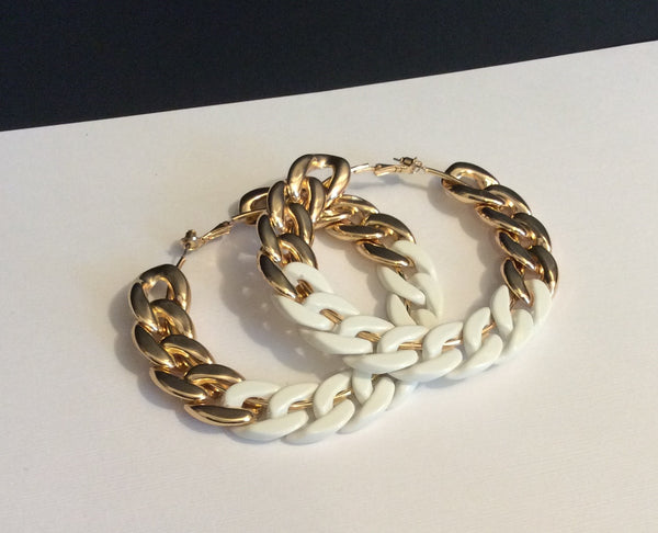 White Dipped Gold Hoops