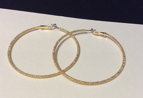Glittering Textured Hoops