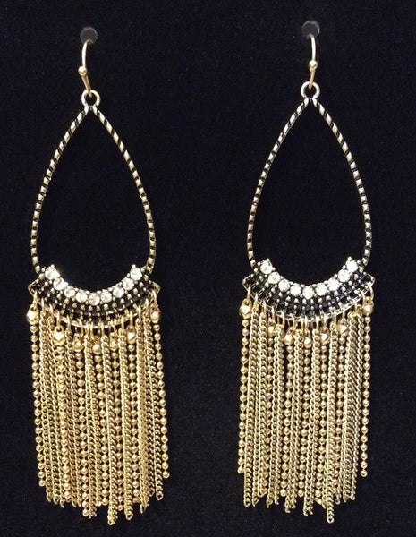 Crystal Accent Fringe Teardrop Earrings