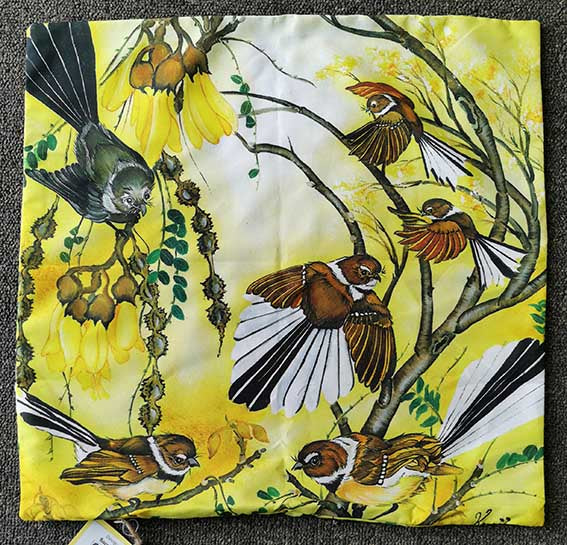 Fantails and Kowhai cushion cover by Kaori Jackson