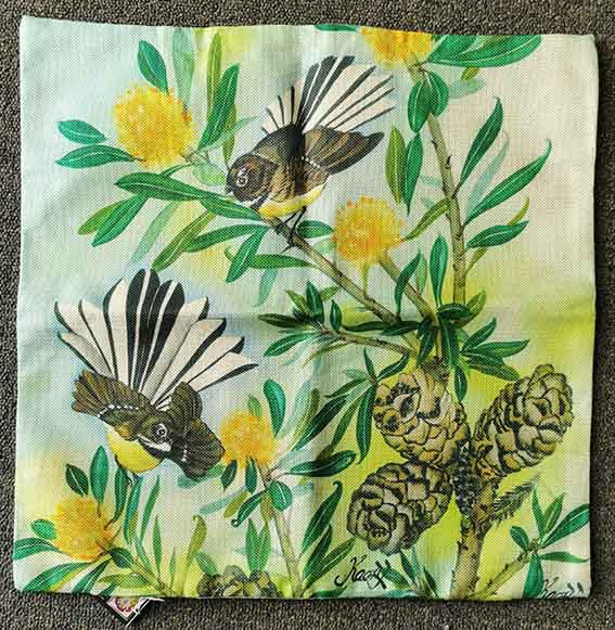 Fantail pair cushion cover by Kaori Jackson