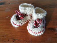 Locally made new born baby booties with sheepskin