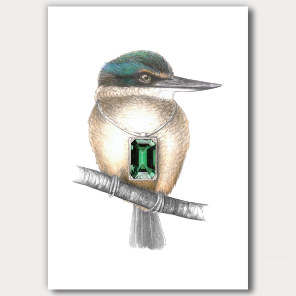 Kingfisher with pendant by Joanne Bowe