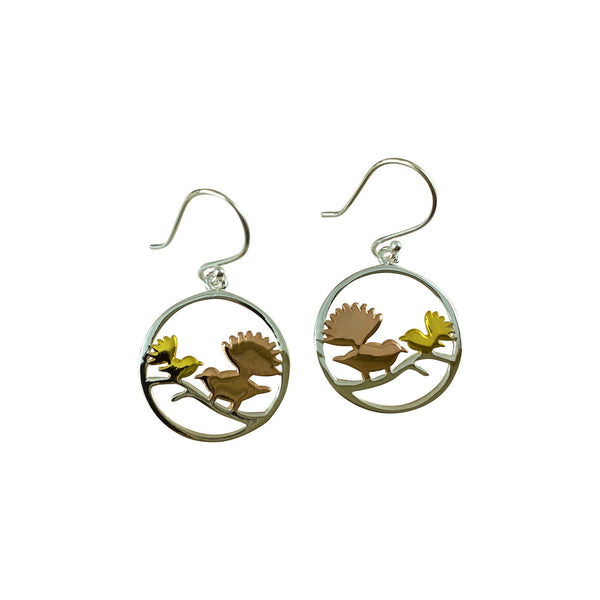 Sterling silver and gold plated fantail earrings
