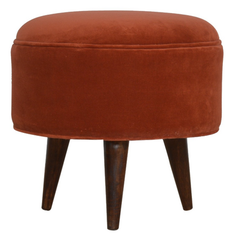 Brick Red Velvet Nordic Style Footstool | Solid Wood Warehouse