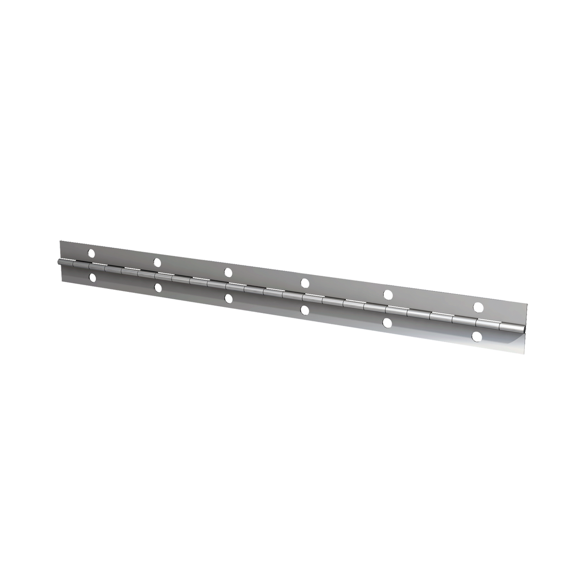 "Steel Continuous Hinge - 0.03"" x 1.0"" x 72"" with Nickel Plate & Mounting Holes"