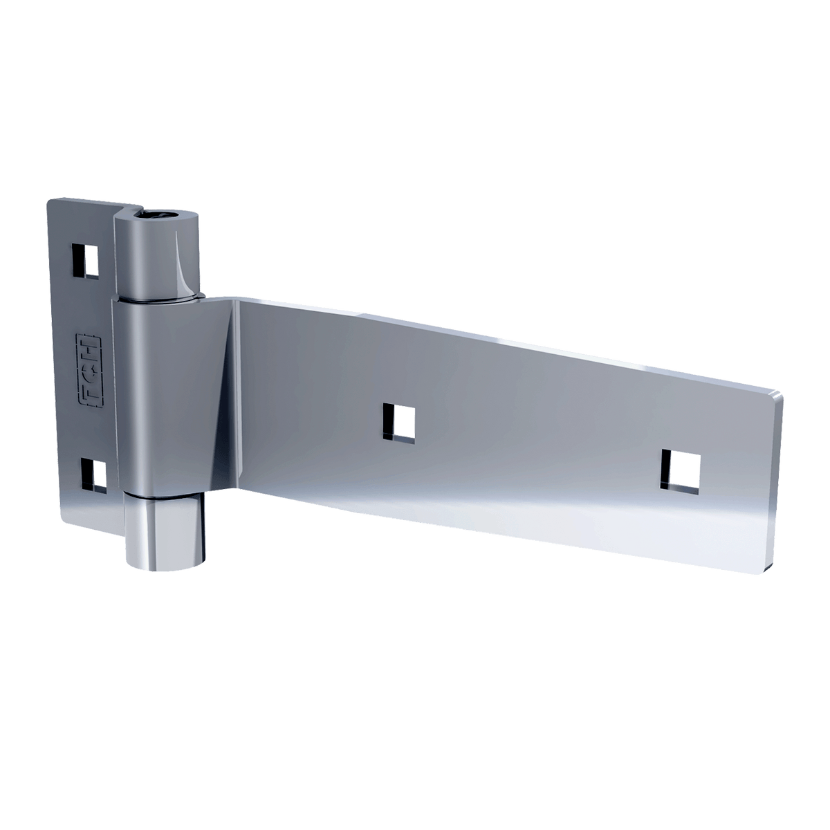 "5"" Polished Stainless Steel Strap Hinge, 3/4 view"