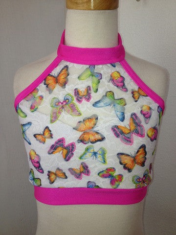 Details Halter Top: Hot Pink Butterfly