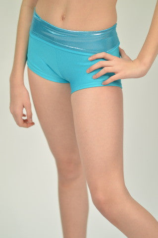 Details Signature Tie Shorts: Turquoise with Ice Blue Waist