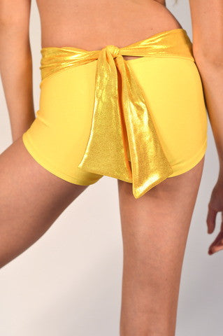 Details Signature Tie Shorts: Yellow