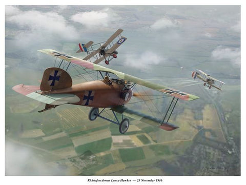 """Richthofen Downs Lance Hawker"" by Jim Laurier"