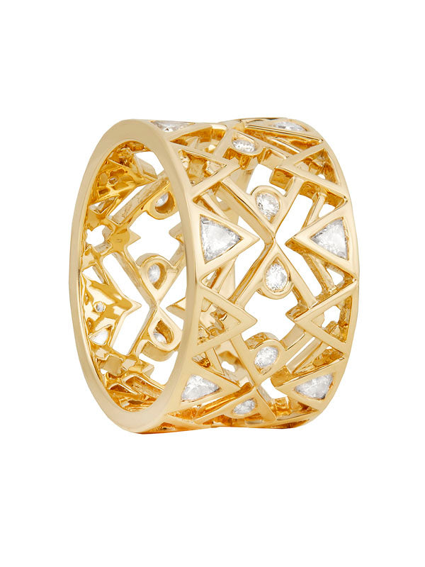 Babylon Love U Diamond Ring in 18K Yellow Gold