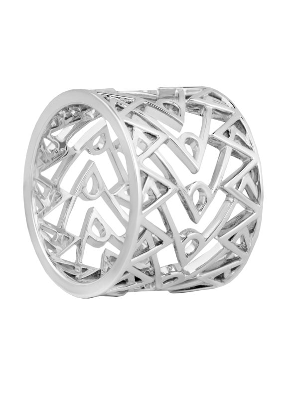 Babylon With U Ring in 18K White Gold