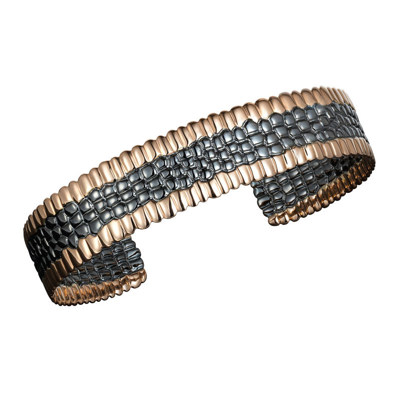 Skin Cuff Bracelet in 18K Black & Rose Gold