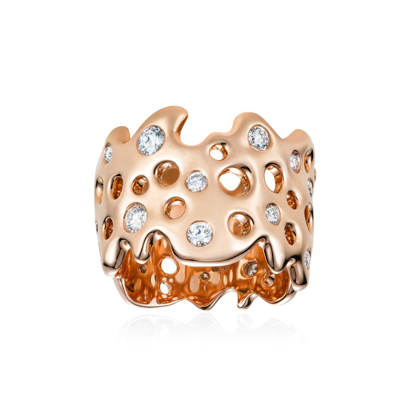 Follow Me Star Diamond Ring in 18K Rose Gold