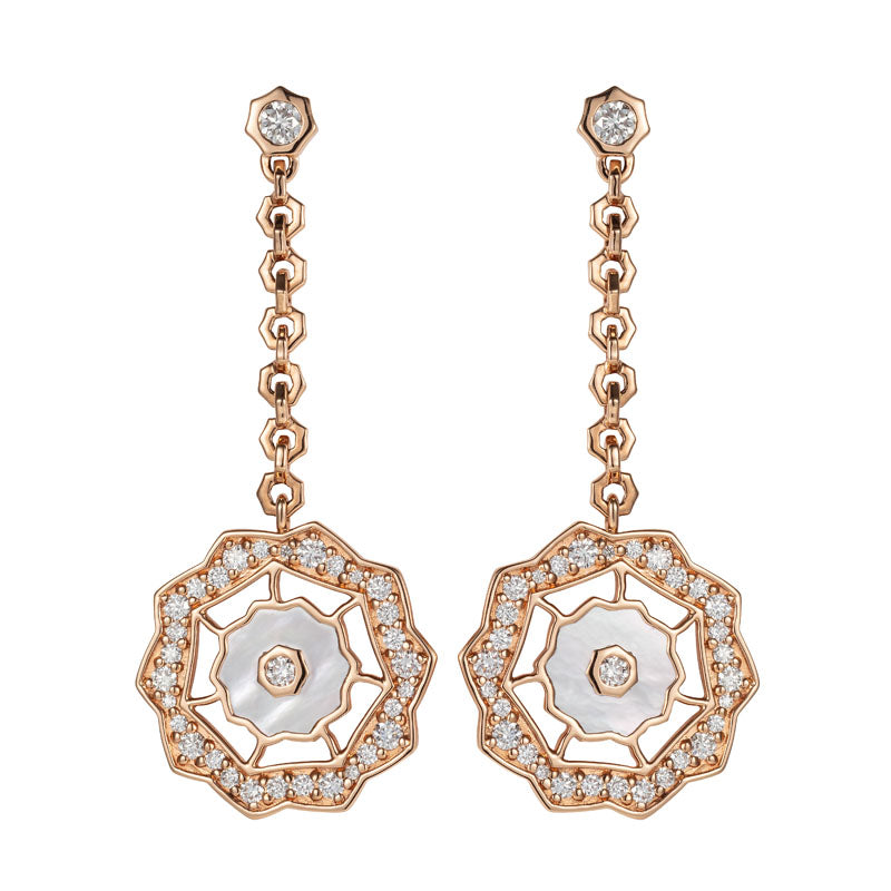 Sunrise Diamond & Mother of Pearl Earrings in 18K Rose Gold