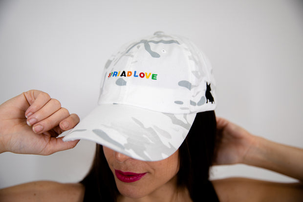 Camo White Spread Love Minimalist Dad Cap