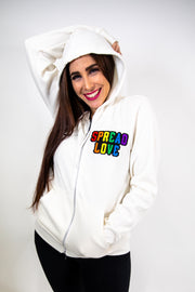 Spread Love Rainbow Chenille Zip Up- Cream