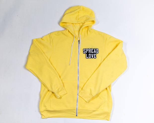 Spread Love Chenille Zip Up - Yellow