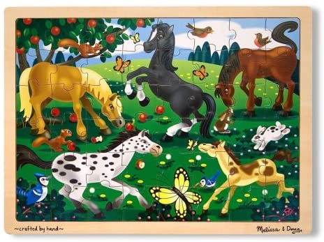 Melissa & Doug - Frolicking Horses 48 piece wooden jigsaw puzzle