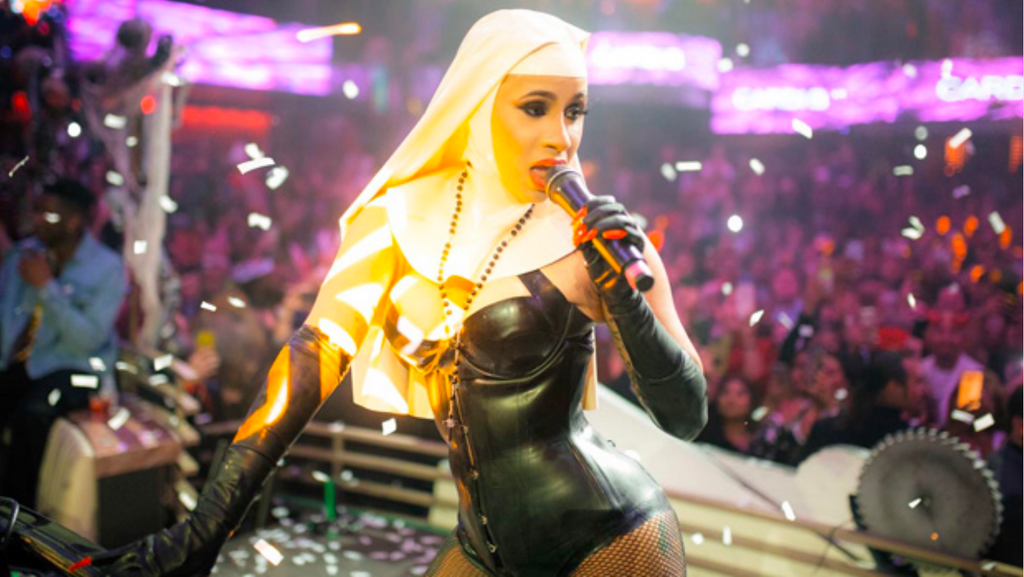 Cardi B Rocks our Sexy Latex Nun Outfit for Halloween at Las Vegas Performance