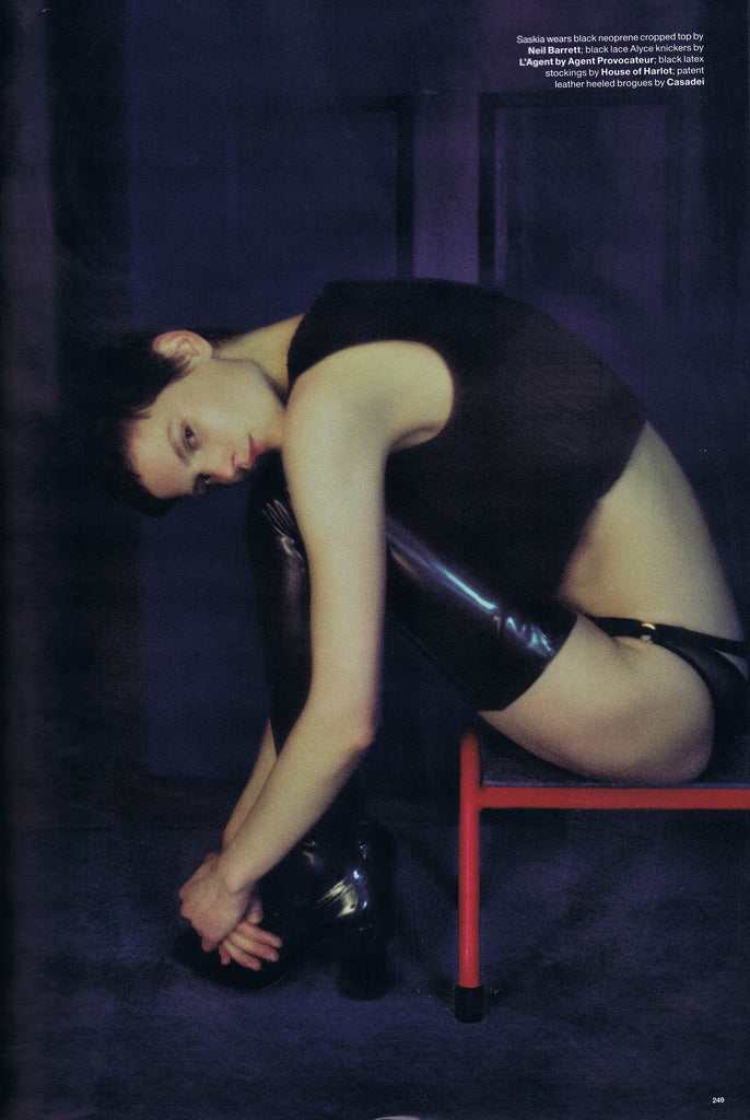 House of Harlot GINA Latex Rubber Stockings in LOVE Magazine