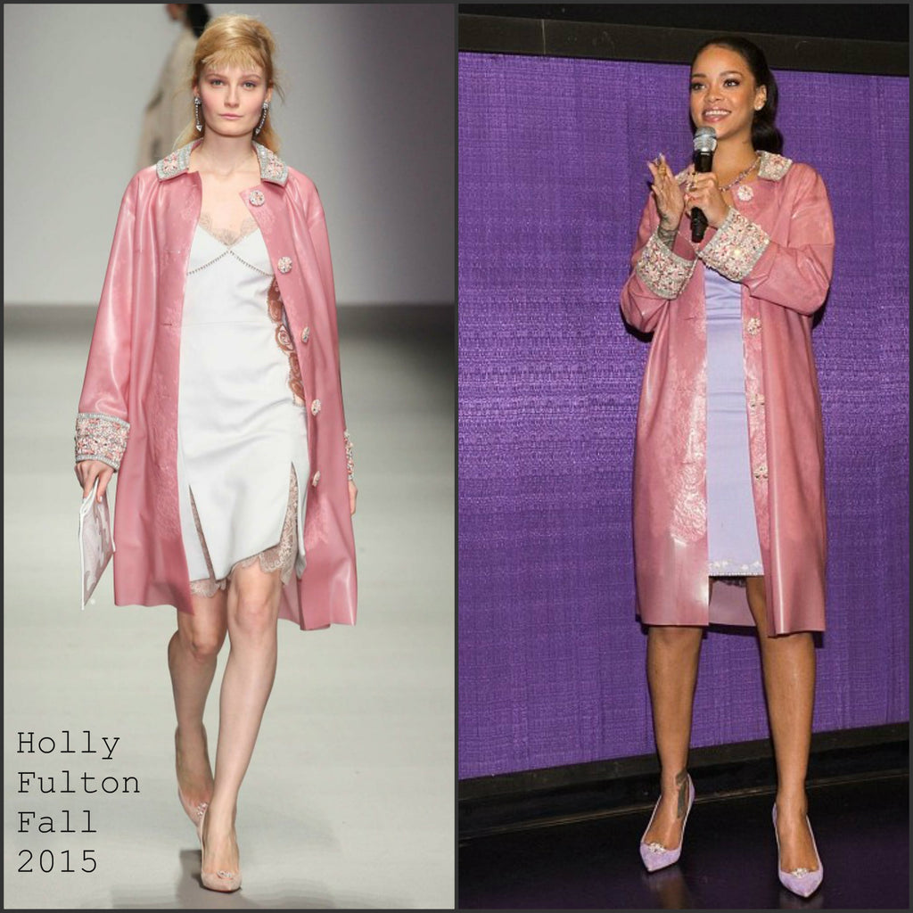 Rihanna Wearing Holly Fulton AW15 Pink Latex Coat made by House of Harlot!