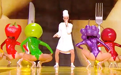 Katy Perry Performs Bon Appétit at The Voice France her Fruit Dancers wearing House of Harlot Latex!