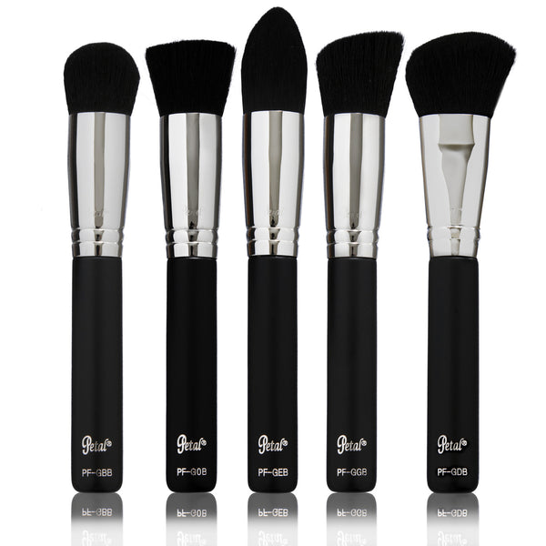 Petal Beauty Synthetic Kabuki 5 Piece makeup Brush Kit - Matte
