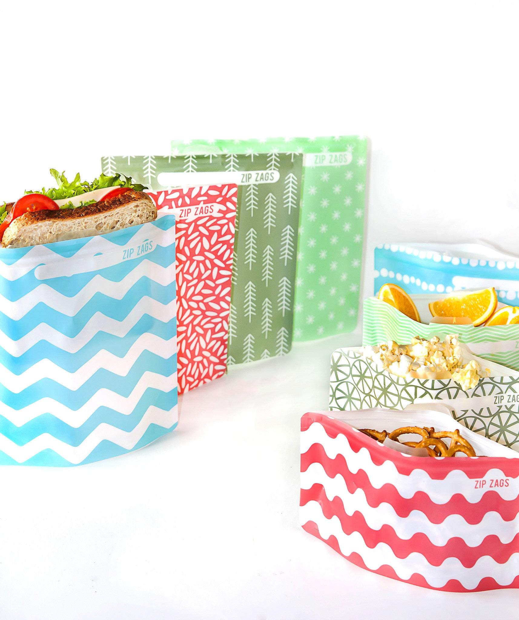 Zip Zags reusable snack bags- Green 4 piece kit
