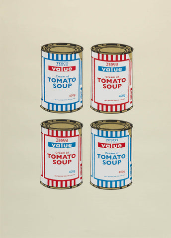 4 Soup Cans (Red & Blue on Cream)