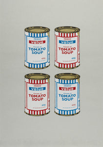 4 Soup Cans (Red & Blue on Grey)