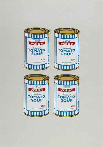 4 Soup Cans (Gold on Grey)