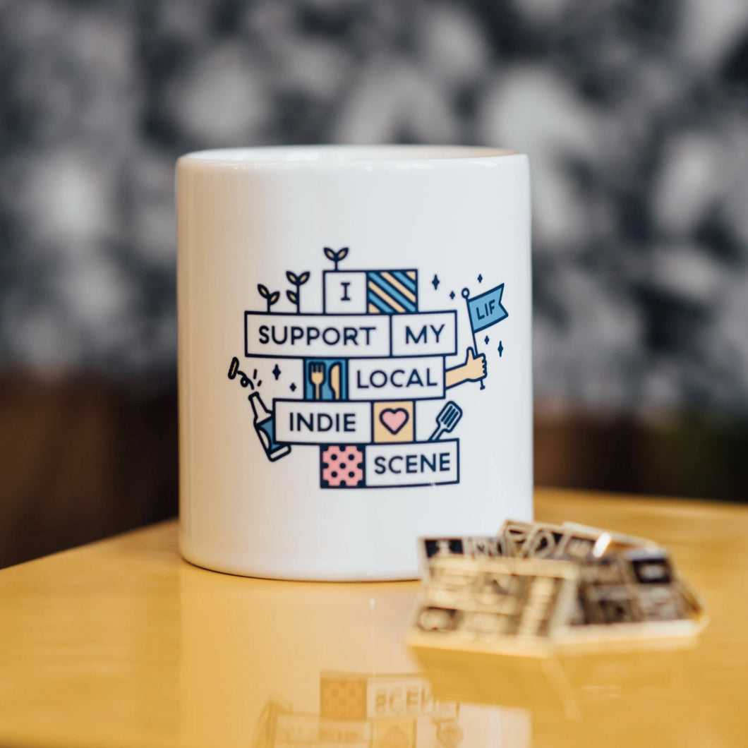 Leeds Indie Food Mug - Support Your Local Indie Scene