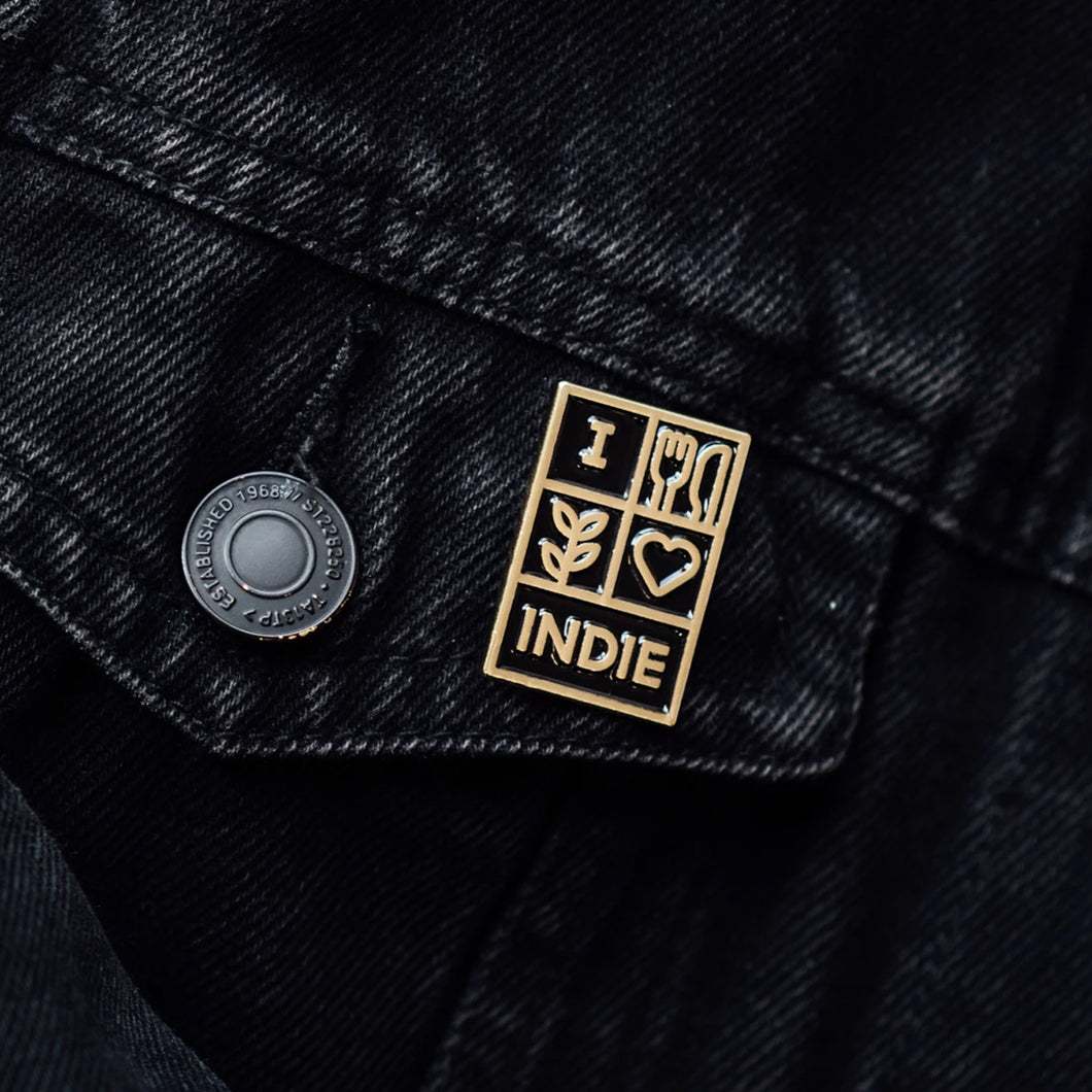 Leeds Indie Food Pin Badge - Support Your Local Indie Scene