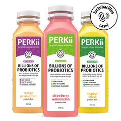 Three PERKii probiotic drink flavours side-by-side