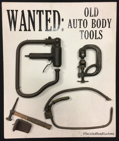 Wanted: Old Auto Body Tools Planishing Hammer Pullmax Power Hammer Yoder Pettingell Marchant Shrinker Stretcher 6FG 6F 6A 12A Erco Eckold Chicago Pneumatic Milwaukee Elgin Watervliet Rams Head Bullseye Picks Hammer Dolly Leading Tools Cast Iron English Wheel Townsend Metal Forming Machine Bodymaster Pullmax P5 P6 P21 Trimmer Nibbler Quickwork Handheld