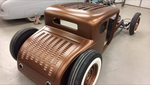 J Graham built hot rod for j schimpf 29 coupe running twisted road customs decklid and custom roof infill louvered panel by trc satin copper paint chopped 1928 1929 28