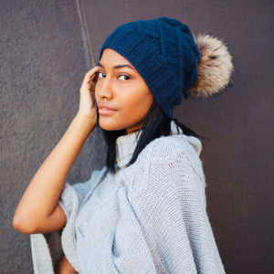 Open image in slideshow, Raven Cable Knit Cashmere Beanie