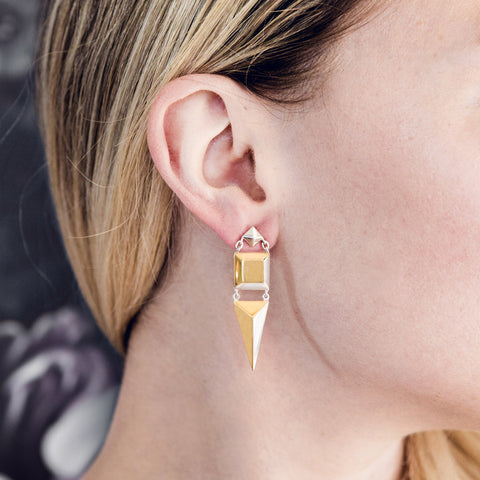 Iza Jewelry Darling Dagger Earrings Mixed Metal with Gold and Sterling Silver Details for the Classy Tomboys