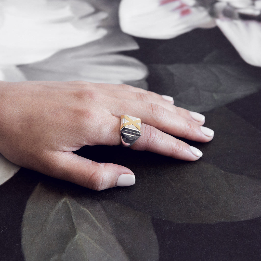 Iza Jewelry Ex Ring Mixed Metal Silver Gold On Model