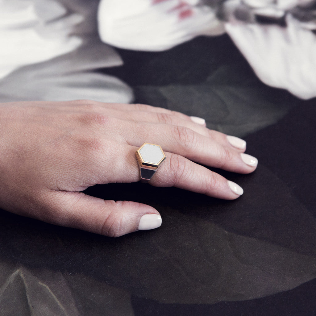 Iza Jewelry Hex Ring Mixed Metal Silver Gold On Model