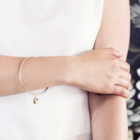 Iza Jewelry Sunday Morning Bangle Sterling Silver with Gold Detail Mixed Metal for the Classy Tomboys