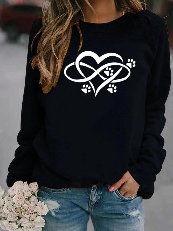Animal Footprint Print Crew Neck Sweatshirt