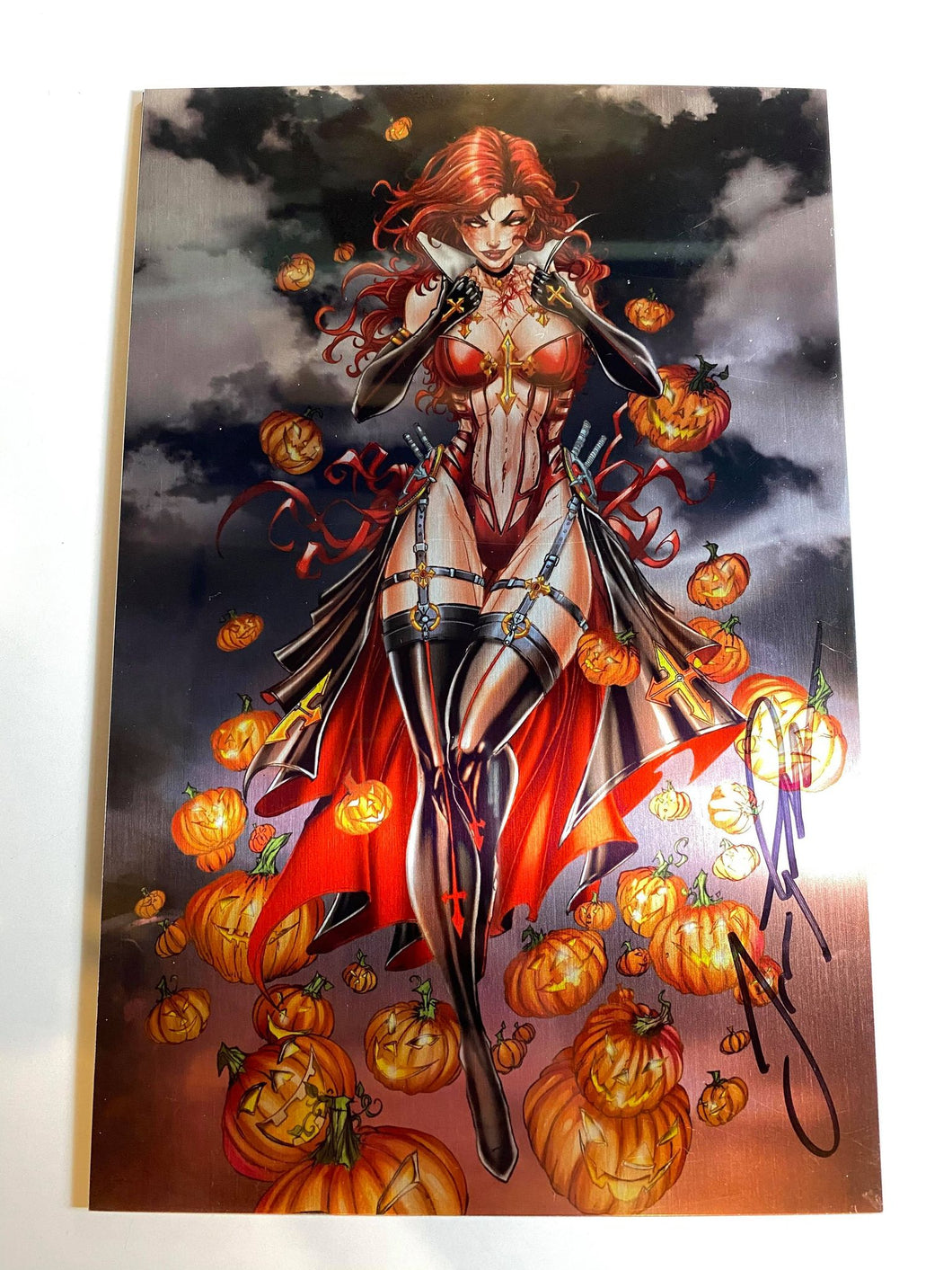 WHITE WIDOW #3 JAMIE TYNDALL SIGNED BLOOD LUST METAL VARIANT COMIC BOOK