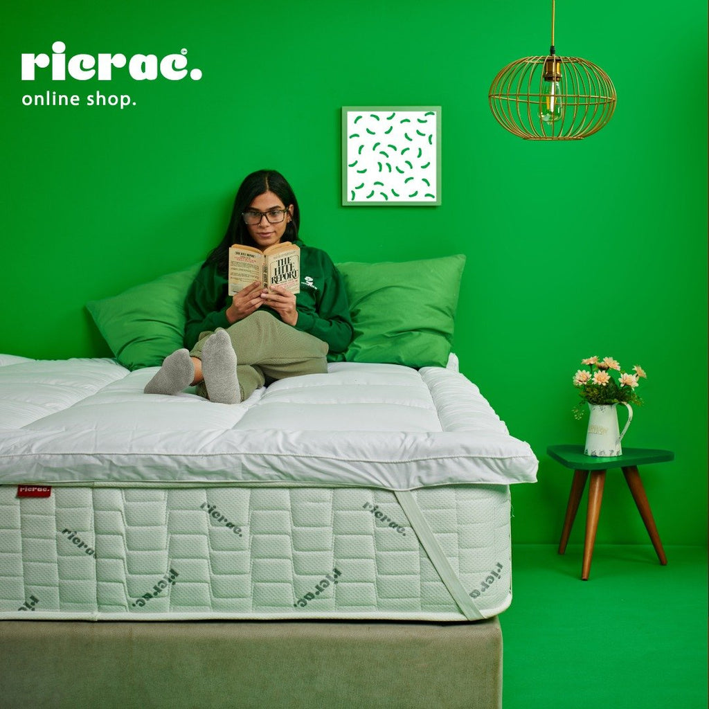 Woman laying on Micro Fiber Topper Mattress Ric Rac Egypt